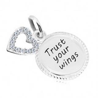 """Strieborný 925 prívesok - krúžok s nápisom """"Trust your wings"""", kontúra srdca so zirkónmi AC05.31"""