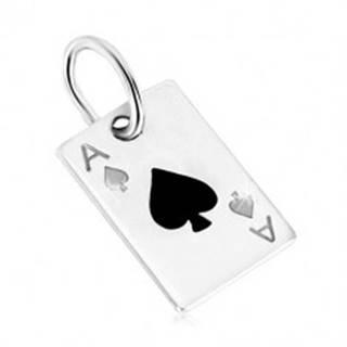 Strieborný prívesok 925 - hracia karta, pikové eso s čiernou glazúrou AC05.28