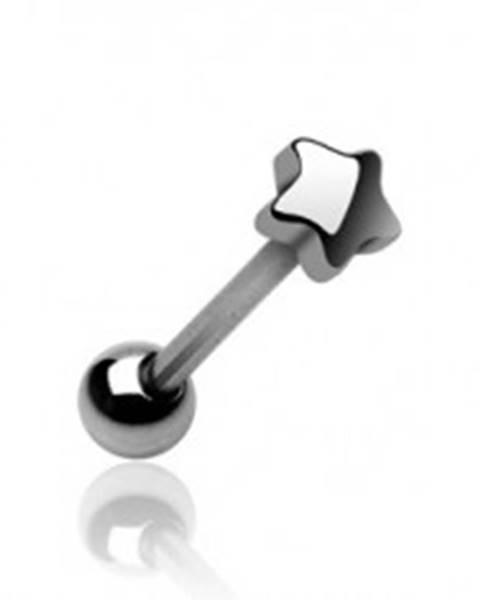 Piercing jazyka s koncovým tvarom malá hviezdička