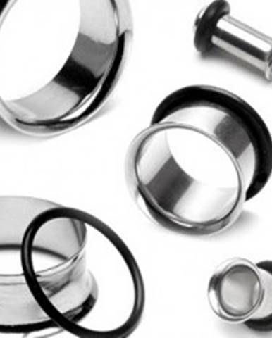 Piercing do ucha - tunel z chirurgickej ocele so zahnutým okrajom a gumičkou C11.11 - Hrúbka: 10 mm