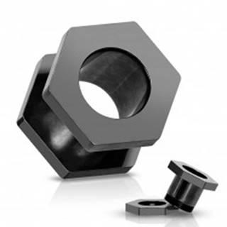 Tunel do ucha z ocele 316L, anodizovaný titánom, čierna matica so závitmi - Hrúbka: 10 mm