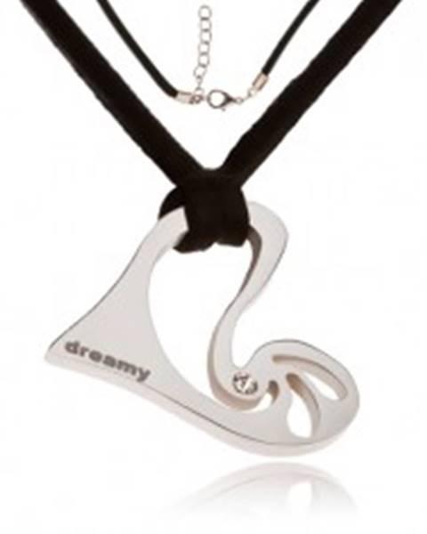 Náhrdelník - čierna kožená šnúrka, asymetrické srdce s kamienkom