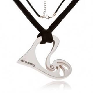 Náhrdelník - čierna kožená šnúrka, asymetrické srdce s kamienkom S45.02