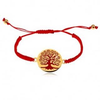 Náramok z červených motúzikov, okrúhly prívesok s červeným stromom
