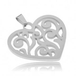 Prívesok z ocele, súmerné srdce s vyrezávanými líniami