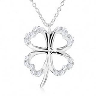 Strieborný náhrdelník 925 - obrys štvorlístka pre šťastie, číre zirkóny