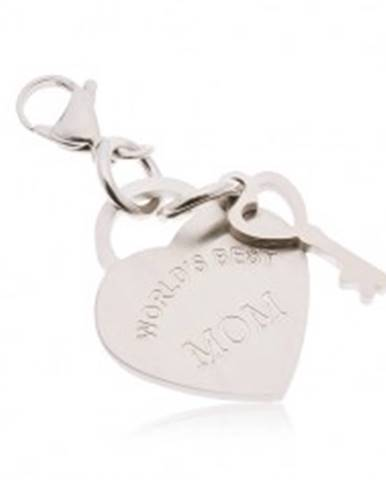 Oceľový prívesok na kľúčenku, srdce s kľúčom a nápisom WORLD´S BEST MOM AA43.26