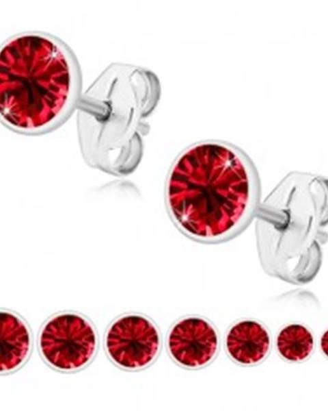 Strieborné 925 náušnice - žiarivý rubínovo červený zirkón, lesklá objímka - Veľkosť zirkónu: 2 mm
