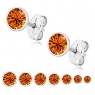 Strieborné 925 náušnice - žiarivý medovo oranžový zirkón v objímke, puzetky - Veľkosť zirkónu: 2 mm