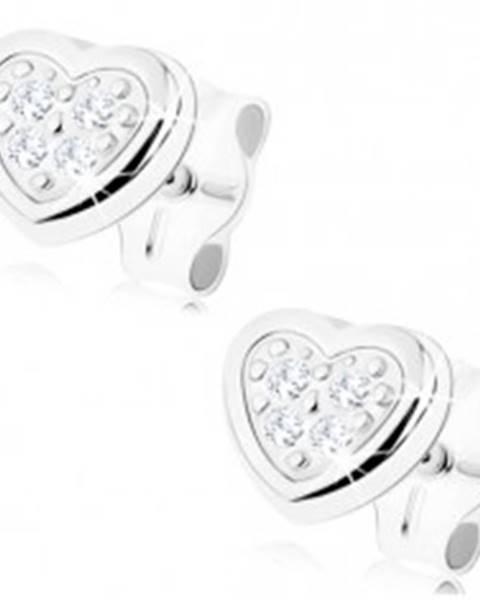 Zlaté náušnice 375 - malé súmerné srdce, lesklý obrys, zirkóniky