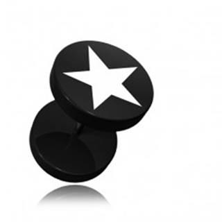 Akrylový čierny falošný piercing do ucha, potlač päťcípa hviezda