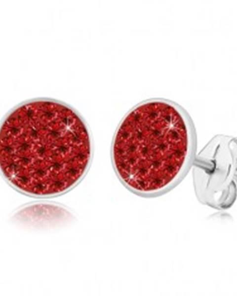 Strieborné 925 náušnice - trblietavý kruh vykladaný červenými zirkónmi
