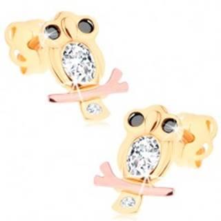 Náušnice v 14K zlate - múdra sova s čírym bruškom a čiernymi očami