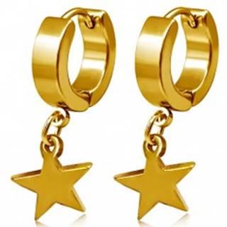 Oceľové náušnice zlatej farby, kruhy a visiaca hviezda