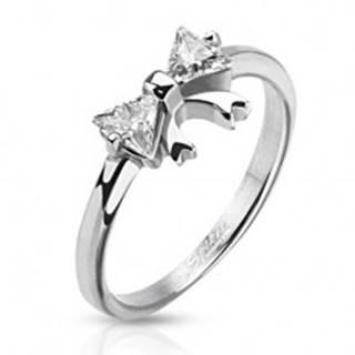 Oceľový prsteň s mašličkou a dvoma čírymi zirkónmi - Veľkosť: 48 mm