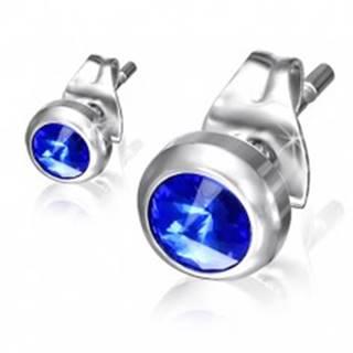 Puzetové náušnice z ocele - modrý ligotavý kamienok v lesklej objímke