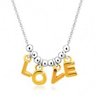 """Náhrdelník zo striebra 925 - retiazka, písmená """"L-O-V-E"""" v zlatom odtieni a guľôčky"""