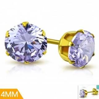 Oceľové náušnice zlatej farby, fialový zirkón v ozdobnom kotlíku, 4 mm
