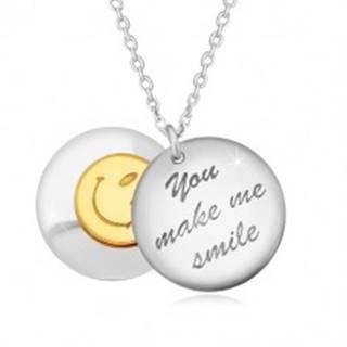 """Strieborný 925 náhrdelník - dva vypuklé kruhy, nápis """"You make me smile"""", smajlík"""