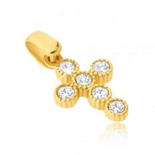 Prívesok v žltom 14K zlate - krížik s okrúhlymi zirkónmi v objímkach