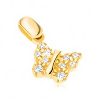 Prívesok zo 14K zlata - motýlik so štruktúrovanými krídlami a zirkónmi