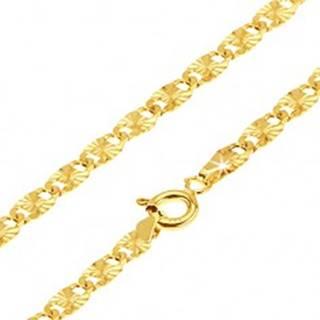 Retiazka zo žltého 14K zlata - ploché podlhovasté články, lúčovité ryhy, 550 mm