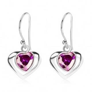 Strieborné náušnice 925, kontúra srdca, srdcový zirkón - fialový odtieň, afroháčik