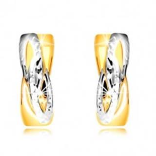 Náušnice v kombinovanom zlate 585 - krúžky so šikmým prepleteným vzorom
