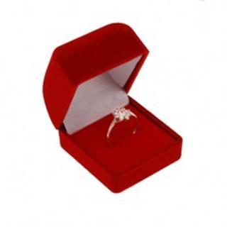 Zamatová krabička na prsteň alebo náušnice, červená farba, skosená vrchná časť