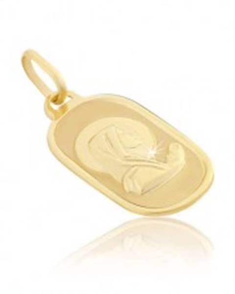 Prívesok zo zlata 14K - modliaca sa Madona na oválnej známke