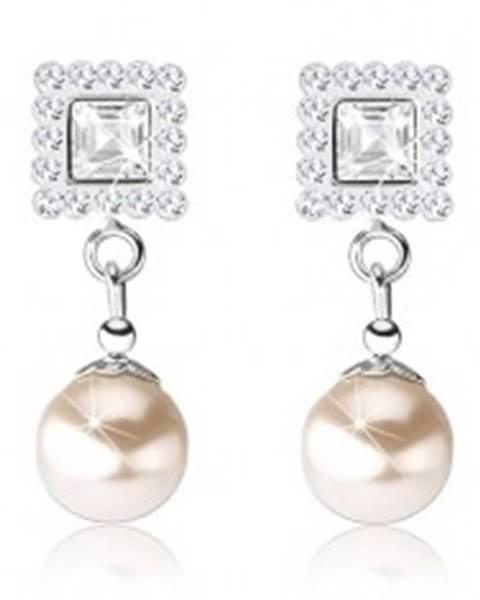 Puzetové náušnice, striebro 925, číre krištáliky Preciosa, perla