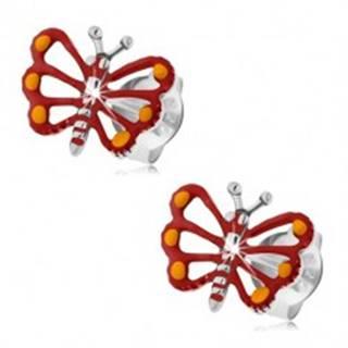 Strieborné náušnice 925, červený motýlik s vyrezávanými krídlami