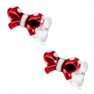 Strieborné náušnice 925, lesklá mašlička, glazúra červenej a bielej farby