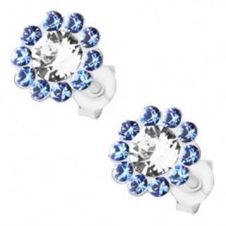 Strieborné náušnice 925, ligotavý kvet, číre a modré Preciosa krištále