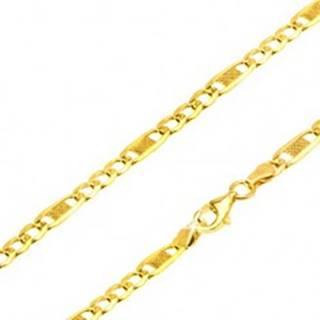 Zlatá retiazka 585, tri očká, dlhý oválny článok s mriežkou, 550 mm