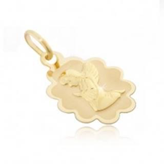 Zlatý prívesok 585 - známka s vrúbkovaným lemom a kľačiacim anjelom