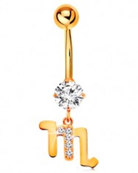 Piercing do pupka zo žltého zlata 585 - číry zirkón, symbol zverokruhu - ŠKORPIÓN