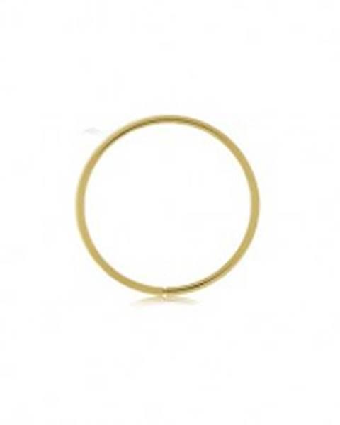 Zlatý 375 piercing - lesklý tenký krúžok, hladký povrch, žlté zlato - Hrúbka x priemer: 0,6 mm x 10 mm