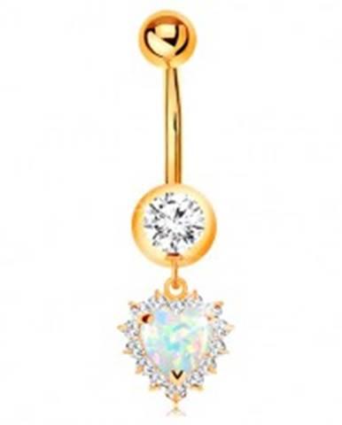 Zlatý 14K piercing do pupku - okrúhly zirkón v objímke, opálové srdce s čírym lemom GG184.42
