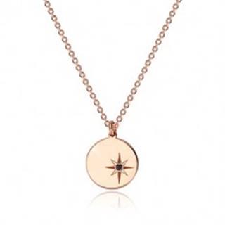 Strieborný 925 náhrdelník ružovozlatej farby - lesklý kruh, severná hviezda, čierny diamant
