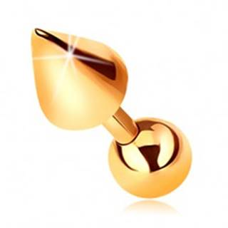 Zlatý 14K piercing - lesklá rovná činka s guličkou a kužeľom do tragusu, 5 mm