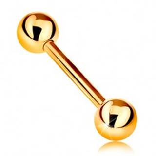 Zlatý 14K piercing - lesklý barbell s dvoma lesklými guličkami, žlté zlato, 12 mm