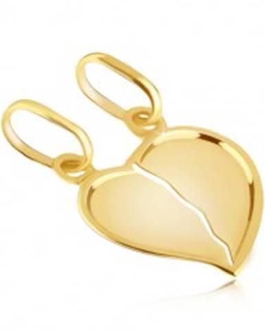 Prívesok zo zlata 14K pre pár - zlomené lesklé srdce s výrazným okrajom GG05.04