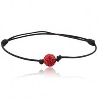 Náramok Shamballa, čierna šnúrka s červenou zirkónovou guličkou