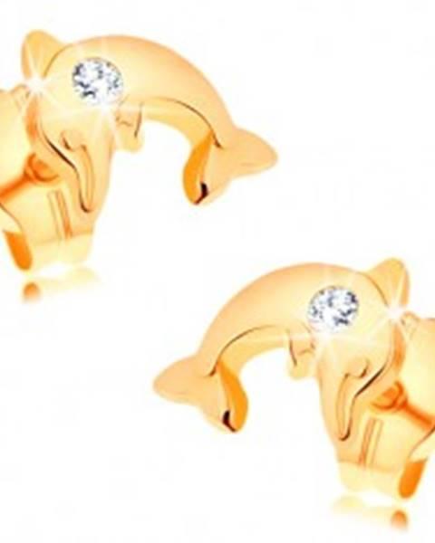 Náušnice zo žltého 14K zlata - lesklý delfín vo výskoku, číry zirkónik