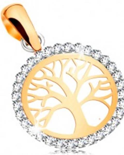 Zlatý 14K prívesok - lesklý strom života v zirkónovej kontúre kruhu