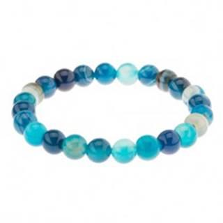 Elastický náramok, guľôčky modrej farby z achátu na priehľadnej gumičke