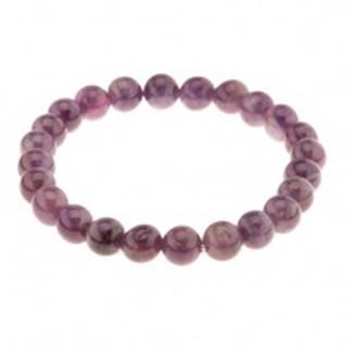 Elastický náramok na ruku, lesklé ametystové guličky, odtiene fialovej farby
