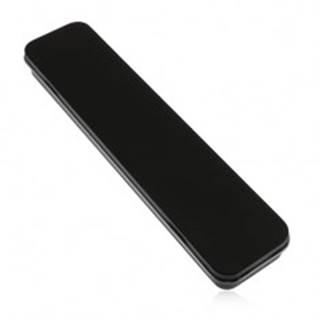 Podlhovastá kovová krabička čiernej farby na retiazku a hodinky, matný povrch