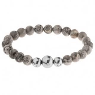 Pružný náramok - guľôčky zo sivého jaspisu, tri oceľové korálky, gumička
